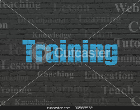 Learning concept: Training on wall background stock photo, Learning concept: Painted blue text Training on Black Brick wall background with  Tag Cloud by mkabakov