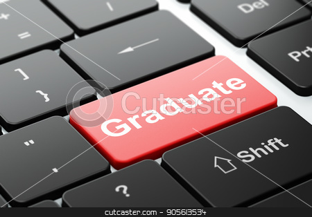 Learning concept: Graduate on computer keyboard background stock photo, Learning concept: computer keyboard with word Graduate, selected focus on enter button background, 3D rendering by mkabakov