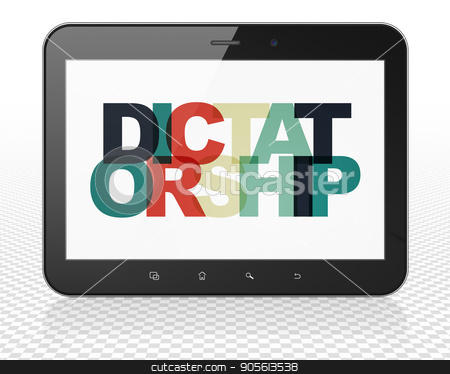 Politics concept: Tablet Pc Computer with Dictatorship on  display stock photo, Politics concept: Tablet Pc Computer with Painted multicolor text Dictatorship on display, 3D rendering by mkabakov