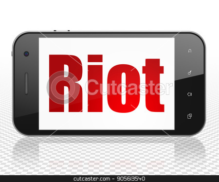 Political concept: Smartphone with Riot on display stock photo, Political concept: Smartphone with red text Riot on display, 3D rendering by mkabakov
