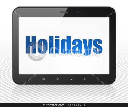 Holiday concept: Tablet Pc Computer with Holidays on display stock photo, Holiday concept: Tablet Pc Computer with blue text Holidays on display, 3D rendering by mkabakov