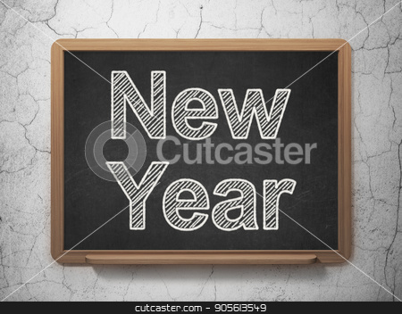 Holiday concept: New Year on chalkboard background stock photo, Holiday concept: text New Year on Black chalkboard on grunge wall background, 3D rendering by mkabakov