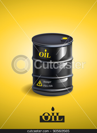 Vector realistic black metal oil barrel stock vector clipart, Vector realistic black metal oil barrel ,vector illustration by Igor Samoilik
