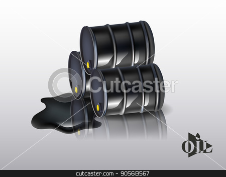 Oil barrels on a white background. vector stock vector clipart, Oil barrels on a white background. vector illustration by Igor Samoilik