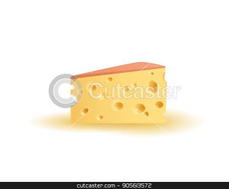 Triangular piece of cheese. Vector stock vector clipart, Realistic triangular piece of cheese. Vector illustration by Igor Samoilik