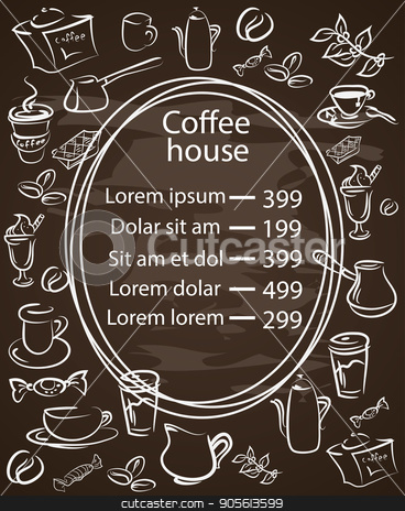 Coffee house chalkboard menu with a central oval frame stock vector clipart, Coffee house chalkboard menu with a central oval frame with the price list surrounded by assorted coffee icons white vector illustration on black by Igor Samoilik