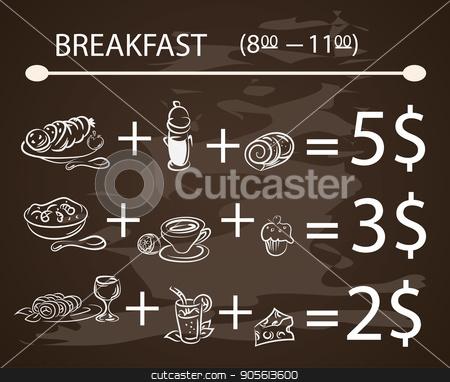 Vector template Breakfast chalkboard menu Vintage Poster , vector set stock vector clipart, Vector template Breakfast chalkboard menu Vintage Poster ,vector set EPS10 by Igor Samoilik