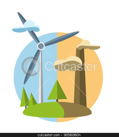 concept illustration with icon of green energy stock vector clipart, concept illustration with icon of green energy . set by Igor Samoilik
