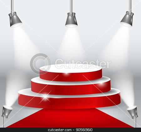 Illuminated Podium With Red Carpet. Vector Illustration stock vector clipart, Illuminated Podium With Red Carpet. Vector Illustration EPS10 by Igor Samoilik