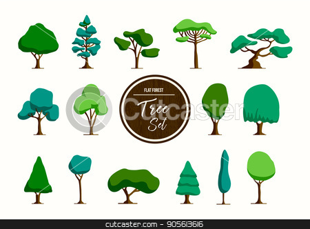 Green tree illustration set in hand drawn style stock vector clipart, Set of green trees in hand drawn style, forest element collection for decoration or nature project. EPS10 vector. by Cienpies Design