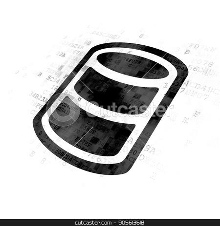 Database concept: Database on Digital background stock photo, Database concept: Pixelated black Database icon on Digital background by mkabakov