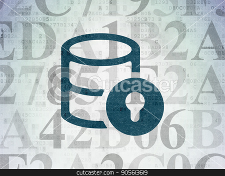Programming concept: Database With Lock on Digital Data Paper background stock photo, Programming concept: Painted blue Database With Lock icon on Digital Data Paper background with  Hexadecimal Code by mkabakov