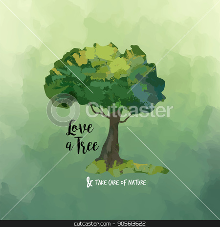 Watercolor tree art and love quote for nature help stock vector clipart, Hand drawn tree watercolor illustration with nature care quote on abstract green paint background. EPS10 vector. by Cienpies Design