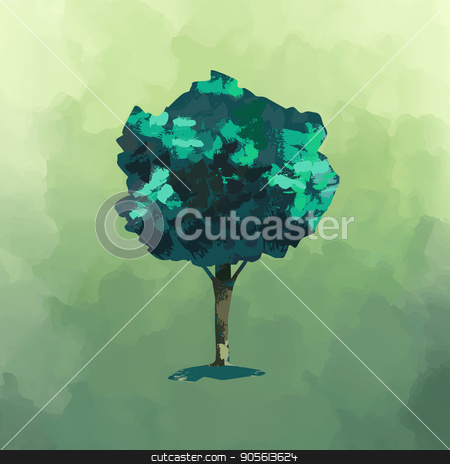 Tree watercolor illustration for environment care stock vector clipart, Hand drawn tree, artistic watercolor illustration on abstract green paint background. EPS10 vector. by Cienpies Design