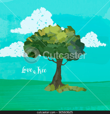 Watercolor tree art and love quote for nature help stock vector clipart, Hand drawn tree watercolor illustration with Love quote on countryside nature landscape background. EPS10 vector. by Cienpies Design