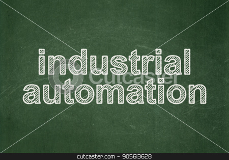Industry concept: Industrial Automation on chalkboard background stock photo, Industry concept: text Industrial Automation on Green chalkboard background by mkabakov