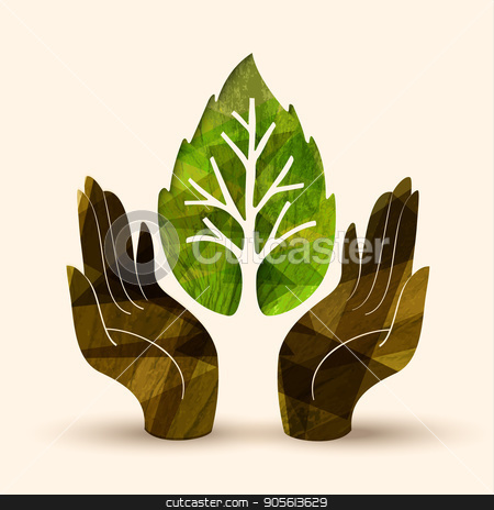 Hand tree concept illustration for nature help stock vector clipart, Human hands holding green tree leaf symbol with nature texture. Concept illustration for environment care or help project. EPS10 vector. by Cienpies Design