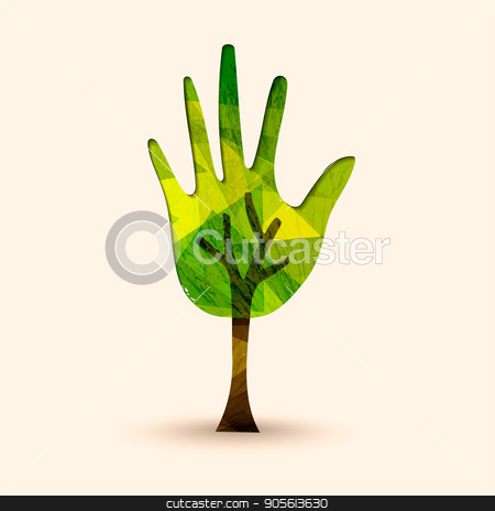 Hand tree green environment help illustration stock vector clipart, Green hand tree symbol with wood texture. Concept illustration for environment care or nature help project. EPS10 vector. by Cienpies Design