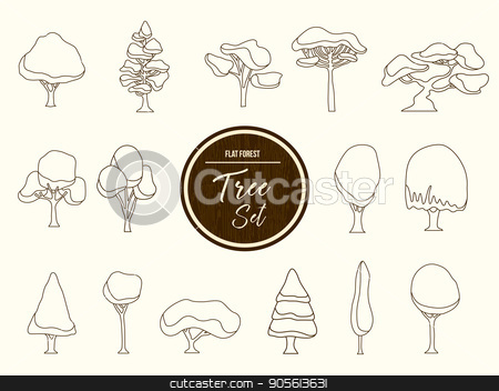 Tree set outline illustration in hand drawn style stock vector clipart, Set of hand drawn forest trees, outline template collection for coloring book or decoration. EPS10 vector. by Cienpies Design