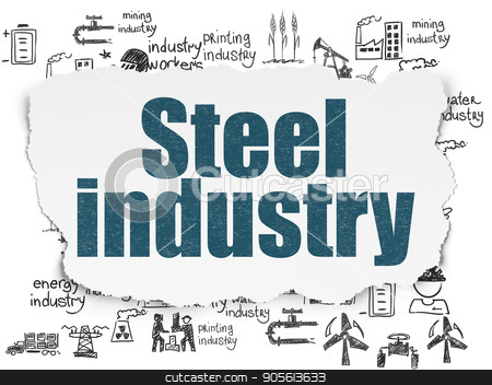 Industry concept: Steel Industry on Torn Paper background stock photo, Industry concept: Painted blue text Steel Industry on Torn Paper background with  Hand Drawn Industry Icons by mkabakov