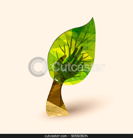 Hand tree green environment help illustration stock vector clipart, Hand tree art with wood texture and big leaf. Concept illustration for environment care or nature help project. EPS10 vector. by Cienpies Design