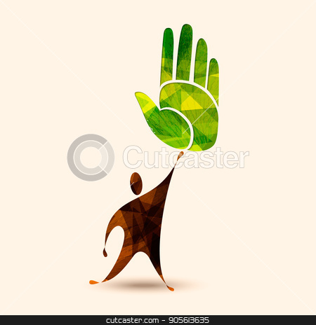Green human hand concept for environment help stock vector clipart, Green hand symbol with human silhouette. Concept illustration for environment care or nature help project. EPS10 vector. by Cienpies Design