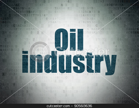 Manufacuring concept: Oil Industry on Digital Data Paper background stock photo, Manufacuring concept: Painted blue word Oil Industry on Digital Data Paper background by mkabakov
