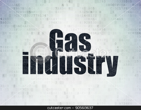 Manufacuring concept: Gas Industry on Digital Data Paper background stock photo, Manufacuring concept: Painted black word Gas Industry on Digital Data Paper background by mkabakov
