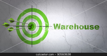 Industry concept: target and Warehouse on wall background stock photo, Success Industry concept: arrows hitting the center of target, Green Warehouse on wall background, 3D rendering by mkabakov