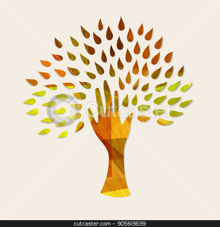 Hand tree concept illustration for nature help stock vector clipart, Hand tree art with wood texture and autumn leaves. Concept illustration for environment care or nature help project. EPS10 vector. by Cienpies Design