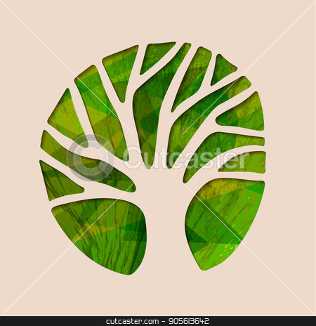 Green ecology tree paper cut shape illustration stock vector clipart, Tree silhouette shape with green leaf texture in paper cut style. Concept illustration for environment care or nature help project. EPS10 vector. by Cienpies Design