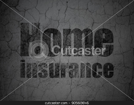Insurance concept: Home Insurance on grunge wall background stock photo, Insurance concept: Black Home Insurance on grunge textured concrete wall background by mkabakov