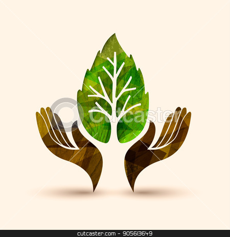 Hand tree green leaf nature help illustration stock vector clipart, Hand tree art with wood texture and green leaf. Concept illustration for environment care or nature help project. EPS10 vector. by Cienpies Design
