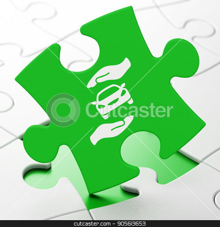 Insurance concept: Car And Palm on puzzle background stock photo, Insurance concept: Car And Palm on Green puzzle pieces background, 3D rendering by mkabakov