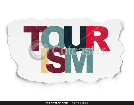 Travel concept: Tourism on Torn Paper background stock photo, Travel concept: Painted multicolor text Tourism on Torn Paper background by mkabakov