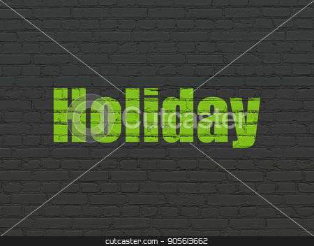 Vacation concept: Holiday on wall background stock photo, Vacation concept: Painted green text Holiday on Black Brick wall background by mkabakov