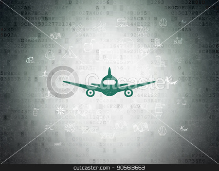 Tourism concept: Aircraft on Digital Data Paper background stock photo, Tourism concept: Painted green Aircraft icon on Digital Data Paper background with  Hand Drawn Vacation Icons by mkabakov