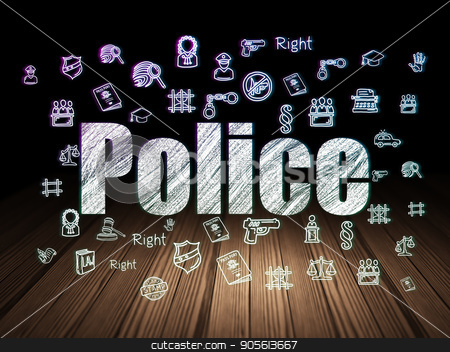 Law concept: Police in grunge dark room stock photo, Law concept: Glowing text Police,  Hand Drawn Law Icons in grunge dark room with Wooden Floor, black background by mkabakov