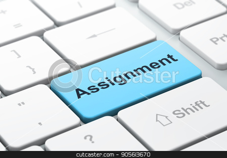 Law concept: Assignment on computer keyboard background stock photo, Law concept: computer keyboard with word Assignment, selected focus on enter button background, 3D rendering by mkabakov