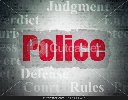 Law concept: Police on Digital Data Paper background stock photo, Law concept: Painted red text Police on Digital Data Paper background with   Tag Cloud by mkabakov