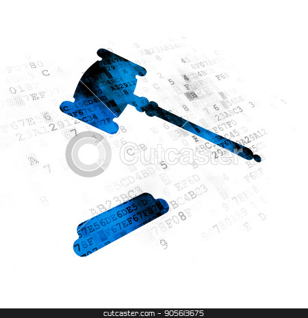 Law concept: Gavel on Digital background stock photo, Law concept: Pixelated blue Gavel icon on Digital background by mkabakov