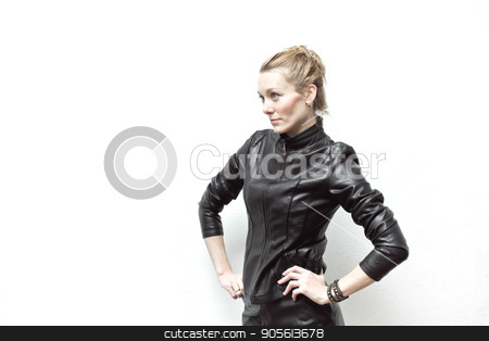 Rock chick in black leather jacket, full length stock photo, Rock chick in black leather jacket, full length. Photo with the film effect of grain by Dmitry Steshenko