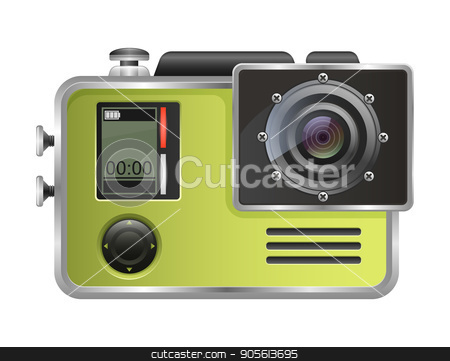 Vector camera Action Cam isolated on white background stock vector clipart, Vector camera Action Cam isolated on white background by MarySan