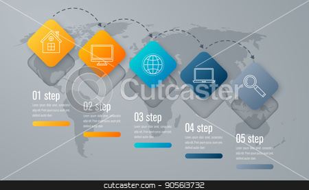 Infographic template of square elements stock vector clipart, Infographic template of square elements. Business concept with 5 options, steps, parts, segments. Vector banner for web, timeline infographics, workflow layout, diagram, chart, annual report by Amelisk