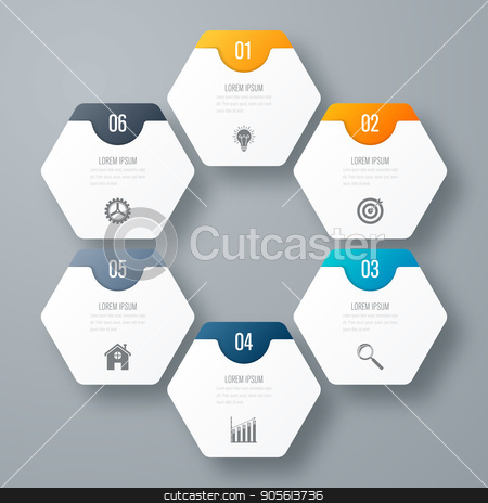 Infographics template 6 options with hexagon stock vector clipart, Infographics template 6 options with hexagon. Can be used for workflow layout, diagram, number options, step up options, web design, presentations by Amelisk