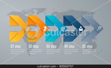 Infographic five step with 3d triangle arrow stock vector clipart, Timeline infographic five step with 3d triangle arrow by Amelisk