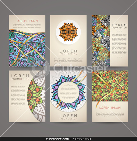 Set of vector design templates. Business card with floral circle ornament. stock vector clipart, Set of vector design templates. Business card with floral circle ornament. Mandala style. by Drekhann