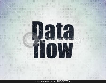Data concept: Data Flow on Digital Data Paper background stock photo, Data concept: Painted black word Data Flow on Digital Data Paper background by mkabakov