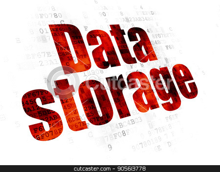 Data concept: Data Storage on Digital background stock photo, Data concept: Pixelated red text Data Storage on Digital background by mkabakov