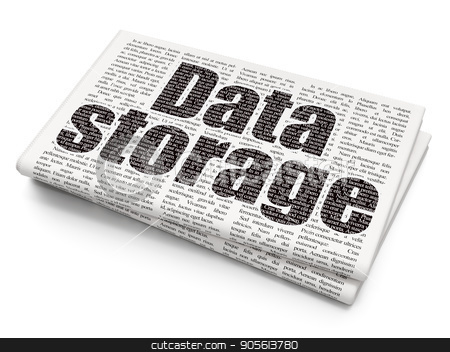 Data concept: Data Storage on Newspaper background stock photo, Data concept: Pixelated black text Data Storage on Newspaper background, 3D rendering by mkabakov